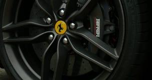 Ferrari Logo on luxury car stock footage