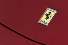 Ferrari logo on red sport car Royalty Free Stock Photography
