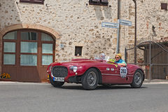Ferrari 250 MM Spider Vignale (1953) in Mille Miglia 2014. The crew K. Engelhorn - F. Seidl on a rare vintage sports car Ferrari 250 MM Spider Vignale (1953) Royalty Free Stock Image