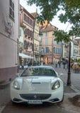 Ferrari op een straat in Colmar Royalty-vrije Stock Foto