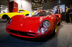 Ferrari 330 P3 at Milano Autoclassica 2016. Close view of a red Ferrari 330 P3 1966 from the Ferrari Museum that was exposed at the entrance of Milano royalty free stock photography