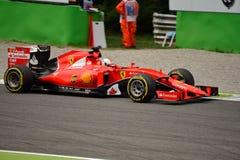 Ferrari sf15-t F1 door Sebastian Vettel in Monza wordt gedreven die Stock Afbeeldingen
