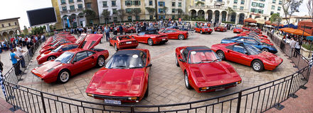 Ferrari Show Day - Super Wide Angle 01. Montecasino and SEFAC (Southern Equatorial Ferrari Automobili Club) 3rd annual Show Day Royalty Free Stock Images