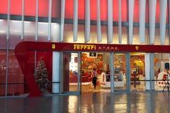 Ferrari sklep przy Ferrari światem w Abu Dhabi Fotografia Stock