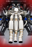 Ferrari som springer V8 den tvilling- turboladdaremotorn Arkivfoton