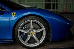 Ferrari 488 spider blue close up Stock Image