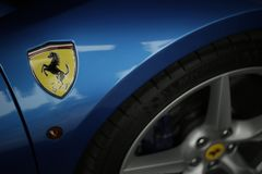 Ferrari 488 spider blue close up Stock Photos