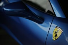 Ferrari 488 spider blue close up Stock Photography