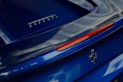 Ferrari 488 spider blue close up Royalty Free Stock Image