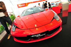 Ferrari 458 Spider convertible sport car on display during Singapore Yacht Show at One Degree 15 Marina Club Sentosa Cove Stock Photos