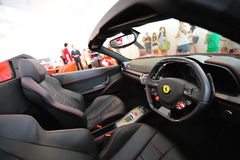 Ferrari 458 Spider convertible sport car on display during Singapore Yacht Show at One Degree 15 Marina Club Sentosa Cove Royalty Free Stock Photography