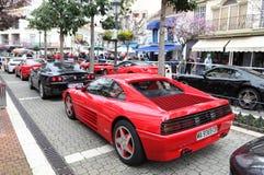 Ferrari sportbilar i Estepona Arkivfoto