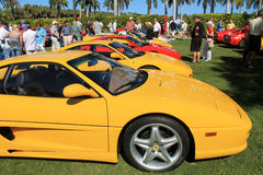 Ferrari sports car lineup at outdoors event in sou Stock Photos