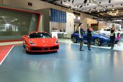 Ferrari 488 sportscar GTB is bij de de Motorshow 2017 van Doubai Royalty-vrije Stock Foto
