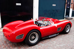 Ferrari sportscar. LONDON - JULY 10: A 1958 196S Ferrari stands on static display in Adam & Eve Mews on July 10, 2014 in London. The company was founded in 1929 Stock Image