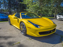 Ferrari 458 Spyder. In yellow at the Larz Anderson Auto Museum in Brookline, MA. USA. in August, 2015 Royalty Free Stock Photography