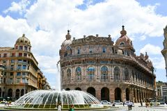 Piazza De Ferrari ,Genoa , Italy. Ferrari square in Genoa, the heart of the city with the central fountain and the Liberty architecture of the surrounding Royalty Free Stock Photo