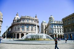 Piazza De Ferrari ,Genoa , Italy. Ferrari square in Genoa, the heart of the city with the central fountain and the Liberty architecture of the surrounding Royalty Free Stock Photos
