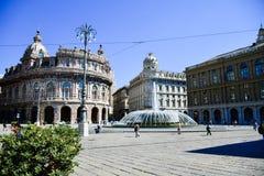 Piazza De Ferrari ,Genoa , Italy. Ferrari square in Genoa, the heart of the city with the central fountain and the Liberty architecture of the surrounding Stock Image