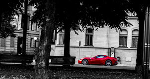 Ferrari standing on the street Stock Photography