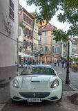 Ferrari on a street in Colmar Royalty Free Stock Photo