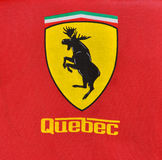 Ferrari style Quebec logo. With moose in the center Stock Images