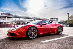 Ferrari 458 supercar parked at Circuit de Barcelona Royalty Free Stock Image