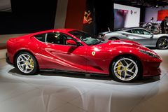 Ferrari 812 Superfast sports car. BRUSSELS - JAN 10, 2018: Ferrari 812 Superfast sports car showcased at the Brussels Motor Show Stock Photos