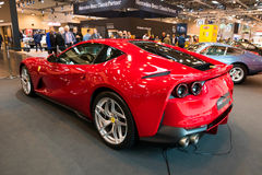 Ferrari 812 Superfast sports car. ESSEN, GERMANY - APR 6, 2017: Ferrari 812 Superfast sports car presented at the Techno Classica Essen Car Show Royalty Free Stock Image