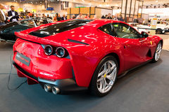 Ferrari 812 Superfast sports car. ESSEN, GERMANY - APR 6, 2017: Ferrari 812 Superfast sports car presented at the Techno Classica Essen Car Show Stock Photo