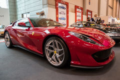 Ferrari 812 Superfast sportscar. ESSEN, GERMANY - APR 6, 2017: Ferrari 812 Superfast sports car presented at the Techno Classica Essen Car Show Stock Images