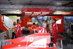 Ferrari Team Preparing Felipe Massa's car Royalty Free Stock Photography