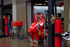 Ferrari Team Preparing Felipe Massa's car Royalty Free Stock Photography