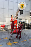 The Ferrari team on Thursday prepares the equipment to work duri. Sochi, Russia -9 November 2014 : Formula One, Russian Grand Prix,  Sochi autodrom , 16 stage Stock Image
