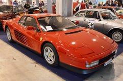 Ferrari Testarossa koloru czerwień, rok 1991 przy rocznik samochodową ekspozycją w Padova 2015, Zdjęcia Stock