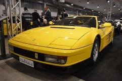 Ferrari Testarossa koloru kolor żółty, rok 1991 przy rocznik samochodową ekspozycją w Padova 2015, Zdjęcie Royalty Free