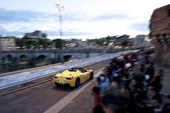 Ferrari under Mille Miglia i Rome Arkivbilder