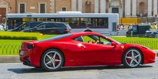 Ferrari beautiful Car red. Ferrari walking to Piazza Venezia in Rome Royalty Free Stock Photography