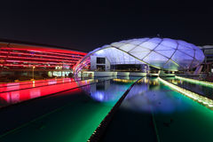 Ferrari World Theme Park at night, Abu Dhabi Stock Photo