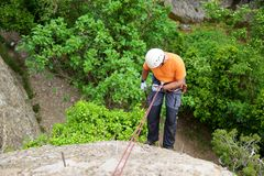 Ferrata in Spain. Rappelling a Ferrata in Vadiello, Guara Mountains, Huesca, Aragon, Spain Royalty Free Stock Photo