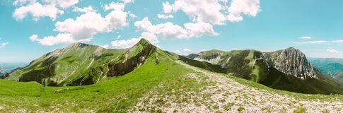 Ferratina del Berro, Sibillini Mountains. On location during summer in Marche, Italy. This is the mountain Ferratina del Berro, a hike into the Valley of Panic royalty free stock photography