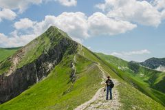 Ferratina del Berro, Sibillini Mountains. On location during summer in Marche, Italy. This is the mountain Ferratina del Berro, a hike into the Valley of Panic royalty free stock images