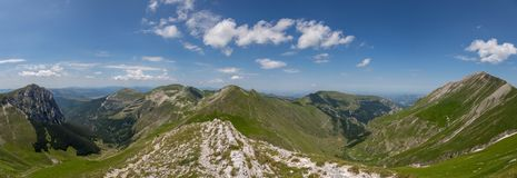 Ferratina del Berro, Sibillini Mountains. On location during summer in Marche, Italy. This is the mountain Ferratina del Berro, a hike into the Valley of Panic stock photography