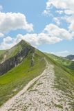 Ferratina del Berro, Sibillini Mountains. On location during summer in Marche, Italy. This is the mountain Ferratina del Berro, a hike into the Valley of Panic stock image