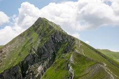Ferratina del Berro, Sibillini Mountains. On location during summer in Marche, Italy. This is the mountain Ferratina del Berro, a hike into the Valley of Panic royalty free stock photo