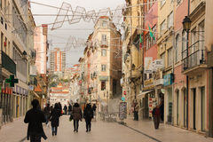 Ferreira Borges-straat Coimbra portugal stock foto's