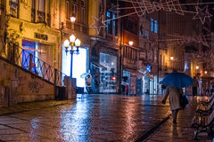 Ferreira Borges street at night. Coimbra. Portugal Royalty Free Stock Image