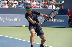 Ferrer 233. Mason, Ohio – August 15, 2017:  David Ferrer in a first round match at the Western and Southern Open tennis tournament in Mason, Ohio, on August 15 Royalty Free Stock Images