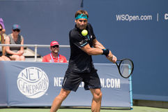 Ferrer 241. Mason, Ohio – August 16, 2017:  David Ferrer in a second round match at the Western and Southern Open tennis tournament in Mason, Ohio, on August Royalty Free Stock Photography