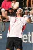 Ferrero: Obenliegende Salve des Tennis-Spielers Stockfotos